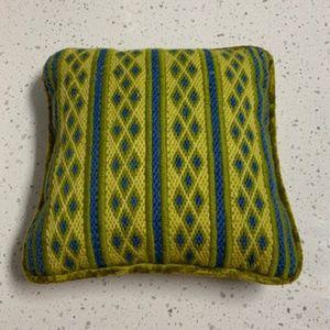 Vintage 70's Needlepoint/Crushed Velvet Pillow